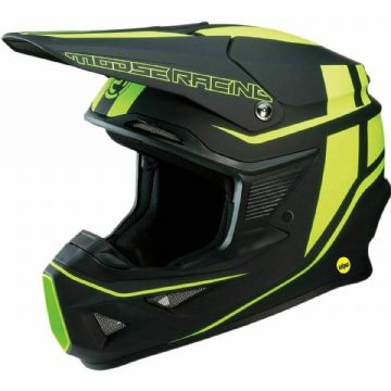 Moose Racing F.I. Motocross Offroad MX MIPS Helmet Flank Black / Hi-Viz Yellow